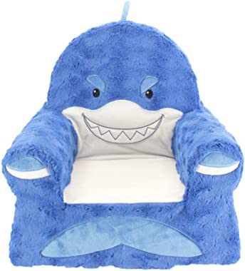 Sweet Seats Sturdy Soft Cozy and Adorable Plush Shark Chair in Blue with Sweet Embroidered Details on The Face Hands and Feet