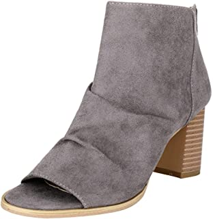 Women's Peep Toe Ankle Boots Sueded Chunky Stacked Block Heel Bootie Cut Out Zipper Back Boot
