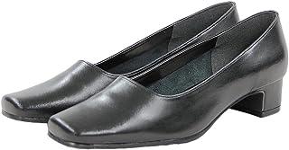 [SORITEAL White Label] 婦人靴 パンプス 本革(22.0~24.5cm/足幅3E/ブラック) スクエアトゥ フォーマルシューズ 日本製 レディース