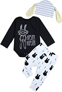 Baby Boy Girl My 1st Easter Outfit Hopster Hipster Bodysuit Romper+ Bunny Pants+Hat 3Pcs Clothes Set Black