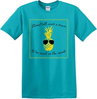 Pineapple with Sunglasses Tropical Blue Cotton Fabric Fashion T-Shirt