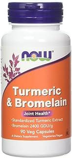 Now Foods Turmeric and Bromelain Veg Capsules,90 Count-2 Pack