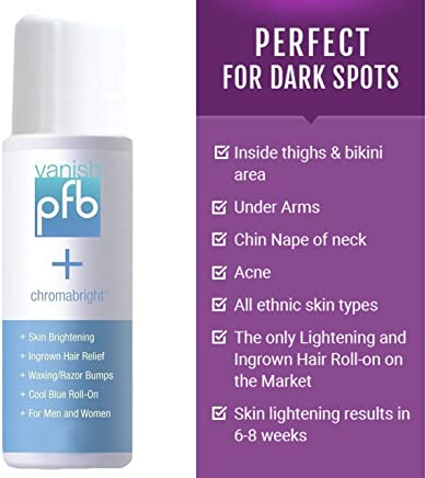 PFB Vanish Razor Bump Stopper Skin Care Treatment with Chromabright Dark Spot Remover, Roll On Formula Treats Ingrown Hairs and Razor Burns - 93g