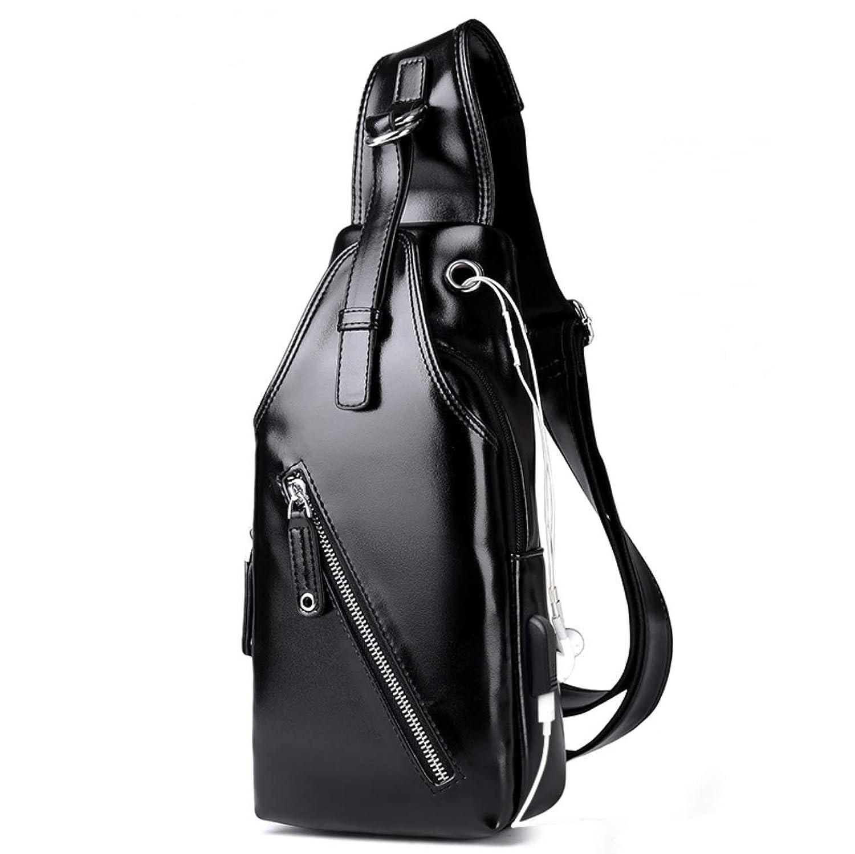 ボディバッグ メンズ 斜め掛け 大容量 ワンショルダー バッグ USBポートイヤホン穴付き ショルダーバッグ PUレザー仕様 人気 防水 肩掛けバッグ ipad mini収納 盗難防止 カバン