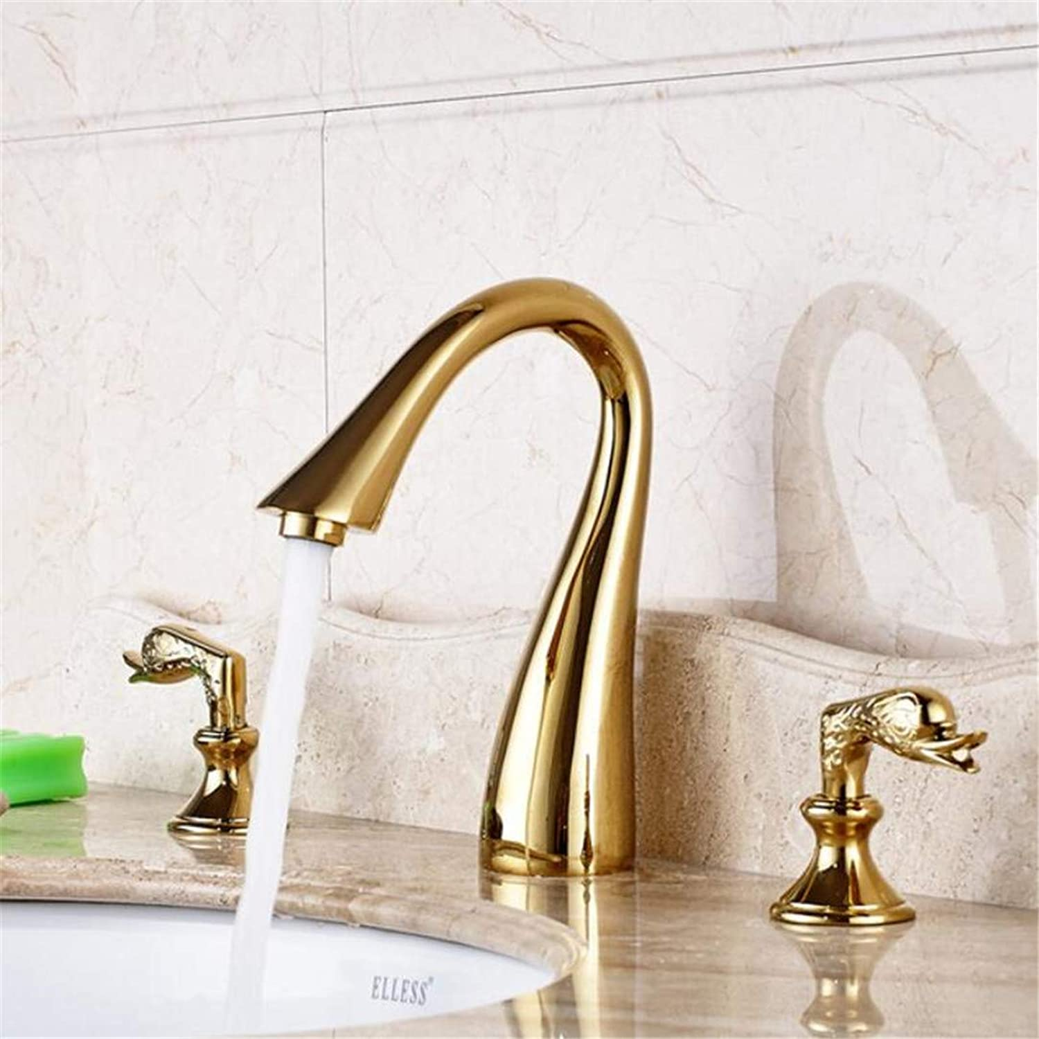 Faucet Washbasin Mixer gold Polished Deck Mounted 3Pcs Bathroom Sink Faucet Double Handles Mixer Tap