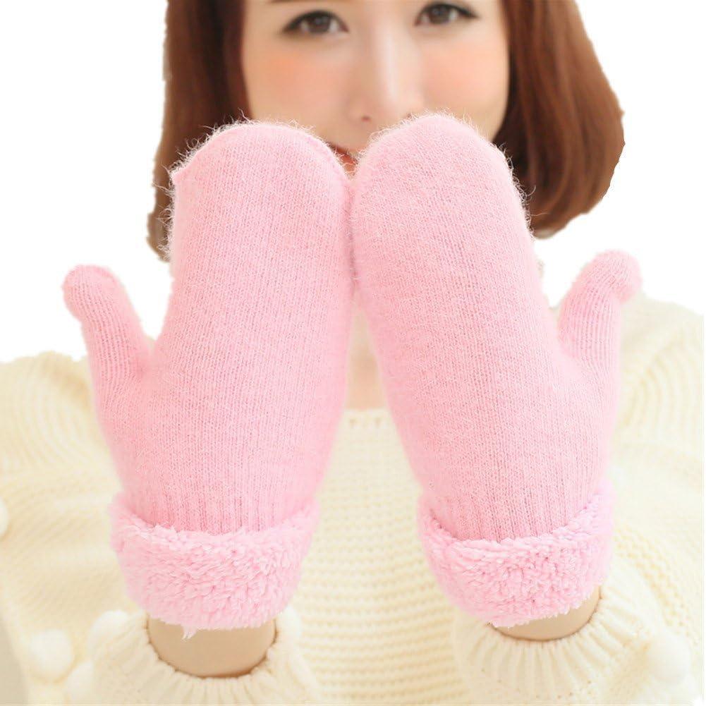 Winter Thicken Warmer Women Gloves Knitted Wool Plush Full Finger Mittens