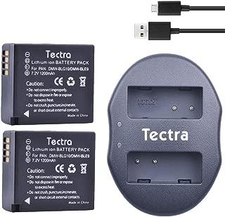 Tectra 2 Pack Battery + Dual Charger for Panasonic DMW-BLE9, DMW-BLG10 and Lumix DC-ZS80, DC-GX9, DC-LX100 II, DC-ZS200, DC-ZS70, DMC-GX80, DMC-GX85, DMC-ZS60, DMC-ZS100, DMC-GF6, DMC-GX7K, DMC-LX100K