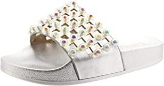 LK 9915 Vittoria Slides Sandals in Silver Glitter, Size US 10 / EU 28