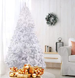 Livebest 8ft Artificial PVC Christmas Tree with 1500 Tips Gorgeous Faux-Pine Xmas Tree (White, 8ft)