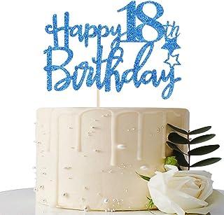 Royal Blue Glitter Happy 18th Birthday Cake Topper - 18 Cake Topper - 18th Birthday Party Supplies - 18th Birthday Party D...