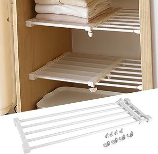 Soulongg Étagère réglable pour placard de cuisine, chambre à coucher, buanderie et garage, longueur environ 73,2 ~ 128 cm