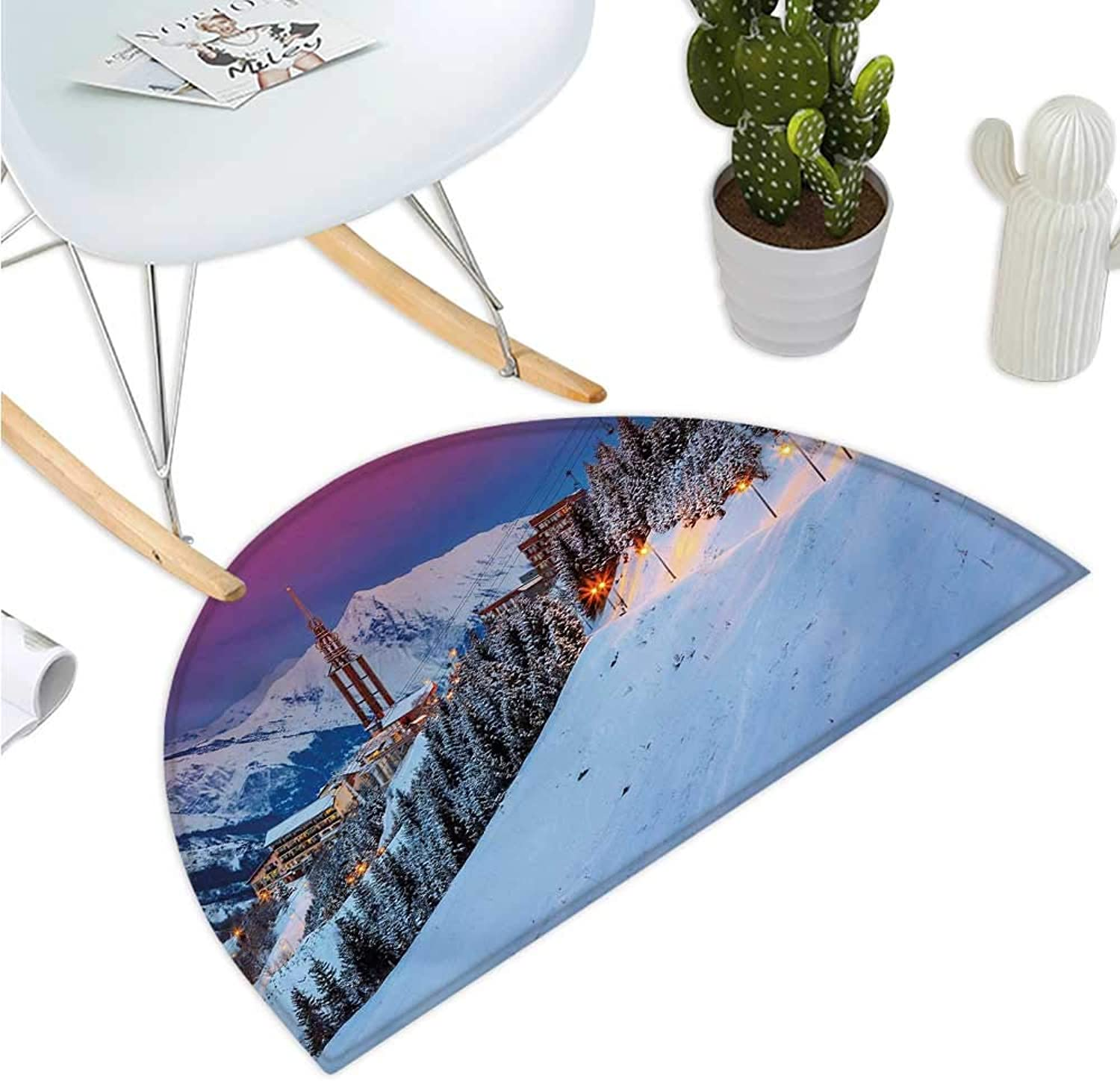 Winter Semicircular Cushion Majestic Winter Sunrise Landscape and Ski Resort Spruce Pine Forest French Alps Entry Door Mat H 35.4  xD 53.1  Multicolor