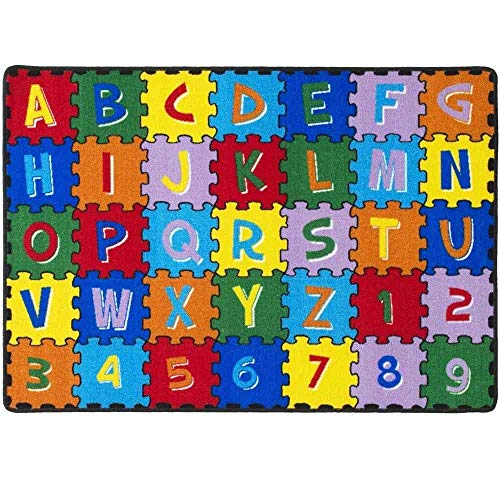 Mybecca Kids Rug Alphabet Puzzle with Numbers & Letters Large Area Rug for Classroom 5ft x 7ft (59' x 82')
