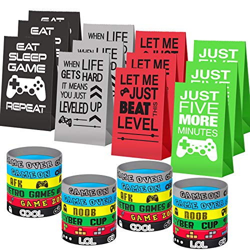Game On Party Supplies Favors 24 Pieces Video Game Goodie Bags and 24 Pieces Video Game Bracelets Wristbands For Kids Birthday Video Game Party Supplies Favors