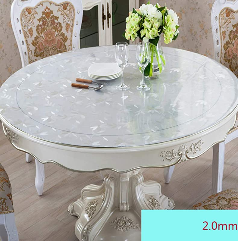D LE 2mm Thick PVC Table Protector Print Round Water Resistant Table Cover Vinyl Table Cloths Pad Easy Clean Wipeable Tabletop Pad Flower 2mm Diameter 90cm 35inch