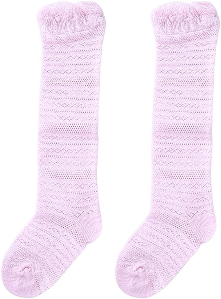 HAOWANG Summer Thin Mesh Baby Socks Combed Cotton High Tube Over the Knee Children Stockings