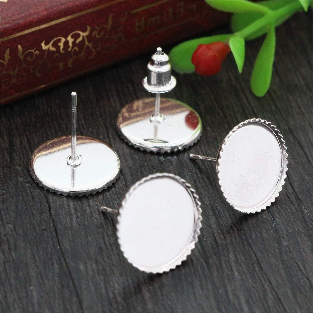 Triangle-Box - 12mm 20pcs Silver Plated B Earrings Bombing free shipping Max 89% OFF Earring Studs
