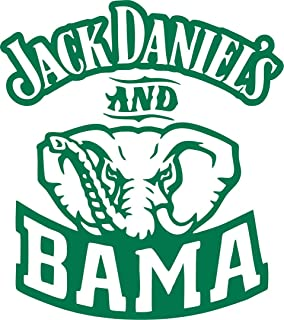 Alabama Jack Daniel's and Bama Football Vinyl Decal Sticker for Window ~Car ~ Truck~ Boat~ Laptop~ iPhone~ Wall~ Motorcycle~ Gaming Console~ Size 5.33