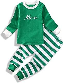 Mini honey Baby Kids Boy Girl Xmas Sleepwear Nice Naughty Long Sleeve Tops+Stripe Pants Outfits Set