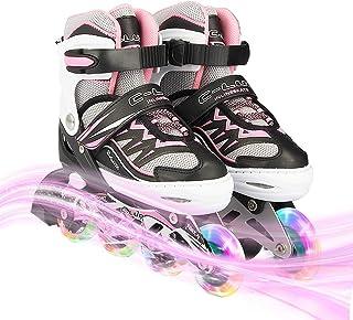 Adjustable Illuminating Inline Skates with Light up Wheels, Fun Flashing Beginner Roller Skates for Kids