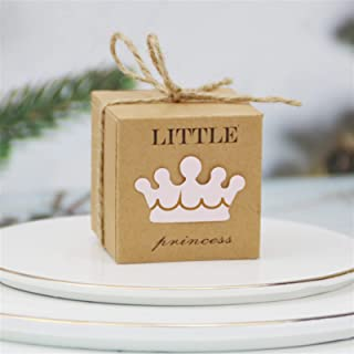 Gift Box 10/50/100pcs Crown Kraft Paper Candy Box with Sackcloth Cord <br> and Gift Box for Baby Shower Wedding Decoration...
