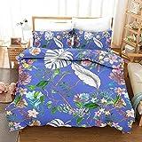 Bedding Juego Funda Edredón Flor de la Planta MicrofibraFunda Nórdica Suave y cómoda Cierre Cremallera 140x200cm y 2 Funda Almohada 50x75cm