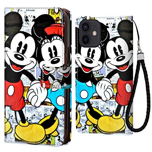 DISNEY COLLECTION Funda tipo cartera para iPhone 12, diseño de Mickey y Minnie, soporte para tarjetas de crédito, cierre magnético, función atril, resistente