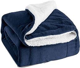 بطانية Sherpa Lamb Blanket Blanket Blanket مزدوجة الطبقة سميكة وحيدة بطانية، لحاف بطانية الخريف والشتاء (أزرق داكن، 150 * ...