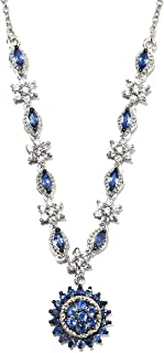 925 Sterling Silver Necklace Platinum Plated Blue Sapphire Cubic Zirconia CZ Jewelry for Women Size 18