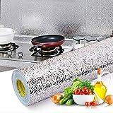 Livelynine 40CMX10M Adesivo da Cucina a Prova di Olio, Carta Adesiva per Cucina Foglio di Alluminio Carta Adesiva Lavabile Rivestimento Cucina Impermeabile Paraschizzi Cucina Resistente al Calore