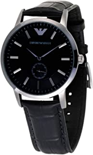 Emporio Armani Classic His & Hers Black Dial Leather Band Couple Watch - AR9100