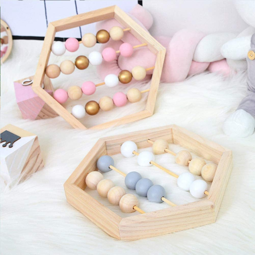 Nordic Style Early Educational Toy Wooden Abacus Toy Craft Counting Math Learning Tool for Kids Toddlers