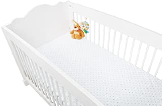 """Pinolino 540022-7D Spannbetttücher für Kinderbetten im Doppelpack """"Sternchen"""", Jersey, Uni, weiß/rosa"""