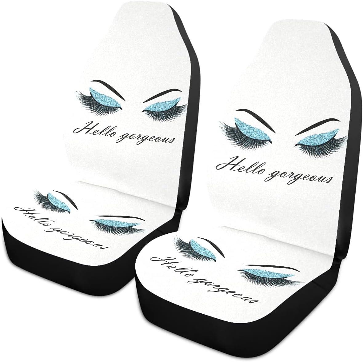 Oarencol Women Eyes Hello Gorgeous Fees free!! Eyelash Blue Car Las Vegas Mall Seat Covers