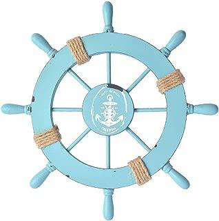 Fangoo 28 CM Rueda de Barco de Madera con Cuerda Barco de Madera náutico Volante de Barco Timón Decoración de Pared Adorno Colgante de Puerta (1)
