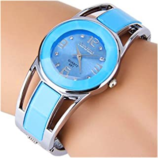 ELEOPTION Women Bangle Watch Bracelet Design Quartz Watch with Rhinestone Round Dial Stainless Steel Band Wrist Watches Free Women's Watch Box