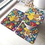 COCOCHILLA Po_Ke-Mon Pi_Ka-Chu Bath mat,Non Slip and Absorbent Bathroom Rugs,Soft Cozy Bathroom Antiskid pad,Bathroom Bathtu Shower Tub Three-Piece Floor mats Set One Size