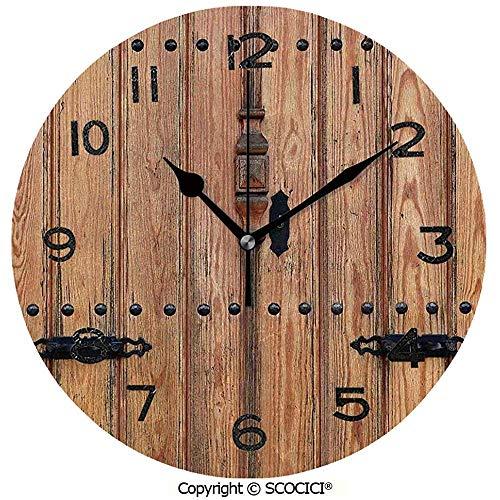 TABUE klok houten deur met ijzeren stijl hangslot poort uitgang ingesloten ruimte van gebouw foto ronde muur klok