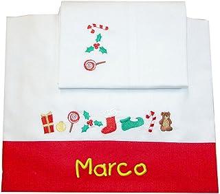"""ZIGOZAGO - Set per culla o lettino """"FESTE DI NATALE"""" in piquet di cotone in 3 pezzi con nome personalizzato. Bordo Rosso. ..."""