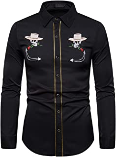 Holzkary Fashion Embroidery Print Tops Workwear Long Sleeve Lapel Collar Shirt Comfort Button Down Shirts for Men