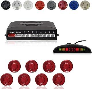 コーナーセンサー 8つのパーキングセンサーを備えたコカーカーリバースパーキングレーダーシステム距離検出+ LED距離表示+音声警告(フィアットレッドカラー)