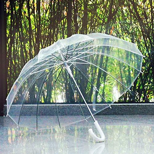 GNNHY semi-automatische transparante paraplu's voor bescherming tegen wind en regen lange handgreep paraplu helder gezichtsveld