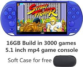 JXD New 5.1 inch 16GB 128Bit Retro Handheld Video Game Console Built-in 3000 Games for Arcade NEOGEO/CPS/FC/NES/SFC/SNES/GB/GBC/GBA/SMC/SMD/SEGA Handheld Game Console mp3/4 (Blue)