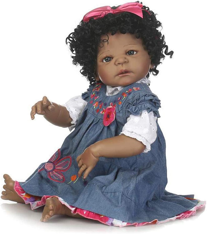 LYH Bambola Reborn del Bambino di 22 Pollici Bambola Reborn del Vinile di Vita Reale, Bambola Nera neonata della Ragazza vestita in Vestito dal Denim con Ricamo Floreale 3D