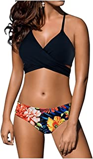 de343a49af Marosoniy Womens Teen Fashion Floral Printing Cross Wrap Bandage Halter  Bikini Set Bathing Suits Two Pieces