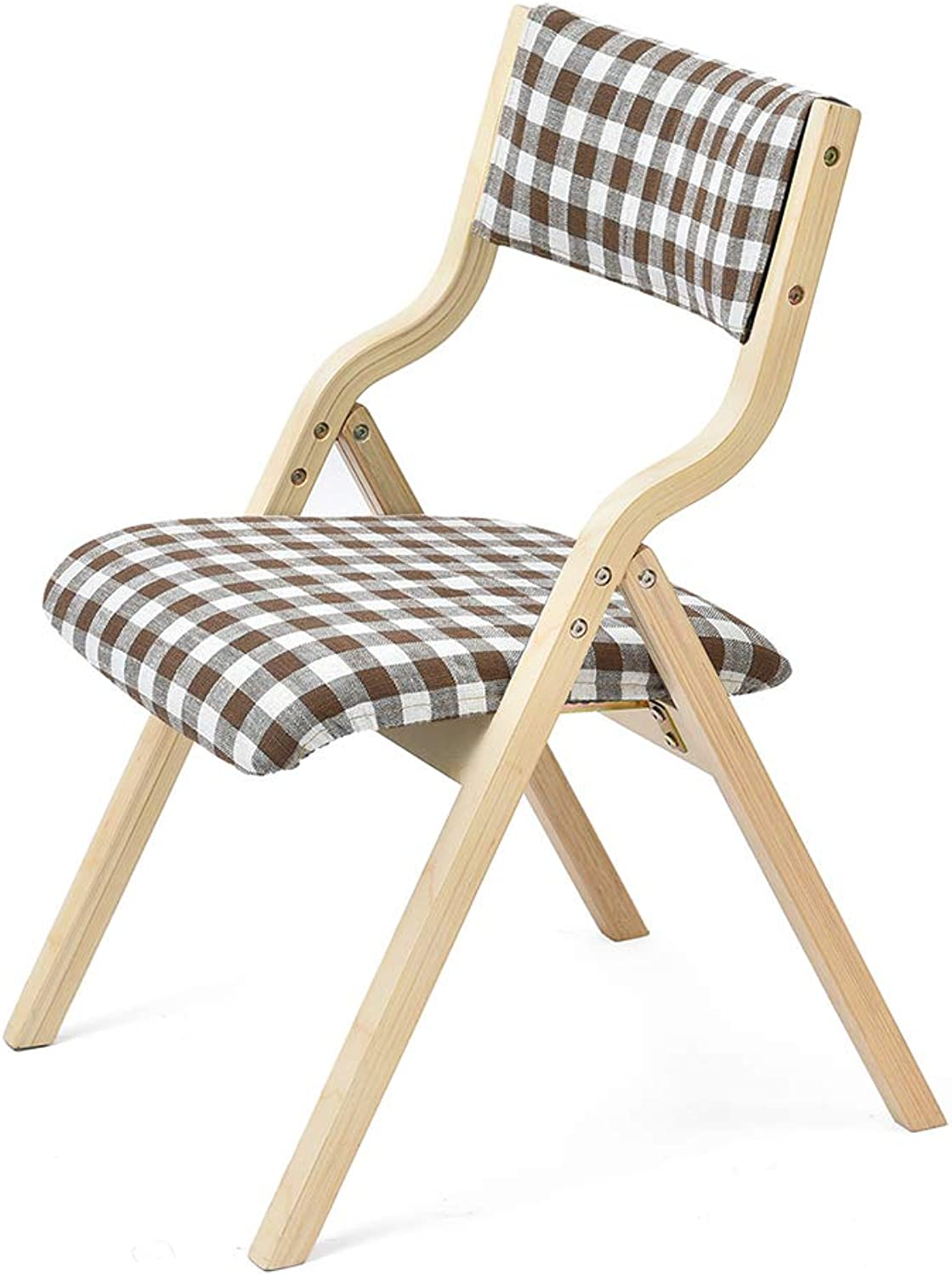 Folding Chair with Plaid Cloth Backrest Beech Lounge Chair with Removable Sponge Pad Creative Dining Room Chairs Heavy Duty