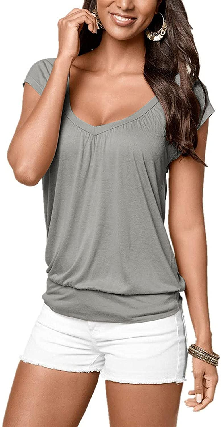 Salifun Shirts For Women, 2021 Casual Summer Pleated Tshirt Womens Short Sleeve Tops Solid Color Round Neck Tee Tunic Blouse