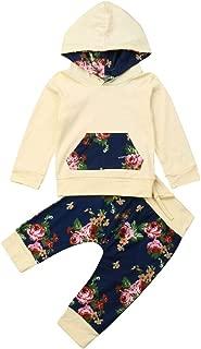 Infant Baby Girl Fall Winter Outfits Long Sleeve Hooded Sweatshirt Floral Pants Headband Set