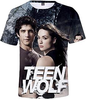 Teen Wolf T-Shirt Camisa de Manga Corta Hawaiana Suelta for Hombre Camisa de Manga Corta Impresa Casual de Vacaciones en l...