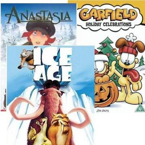 3DVD SET: Anastasia + ICE AGE (die Age von Eis) + Garfield Holiday Celebrations (Garfield im Urlaub)